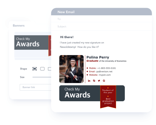 Show your university awards and achievements in email signature banners