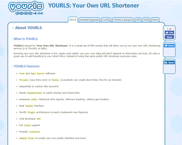 yourls shortener