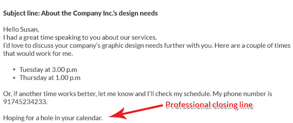 professional email closing lines