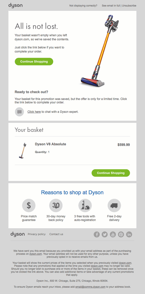 auto emails for abandoned cart