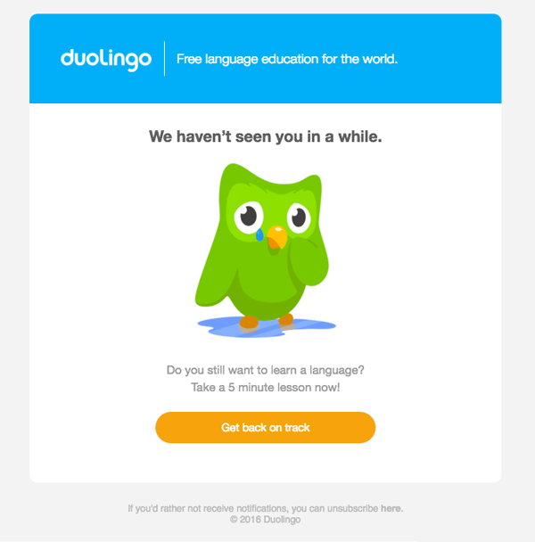 Re-engagement Duolingo