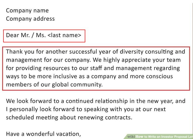 investor proposal letter