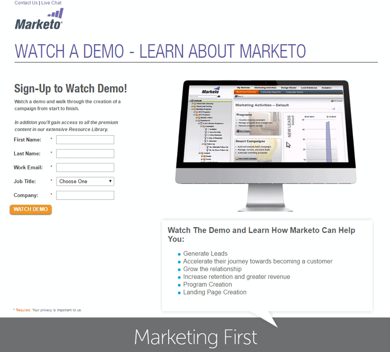 marketo landing demos