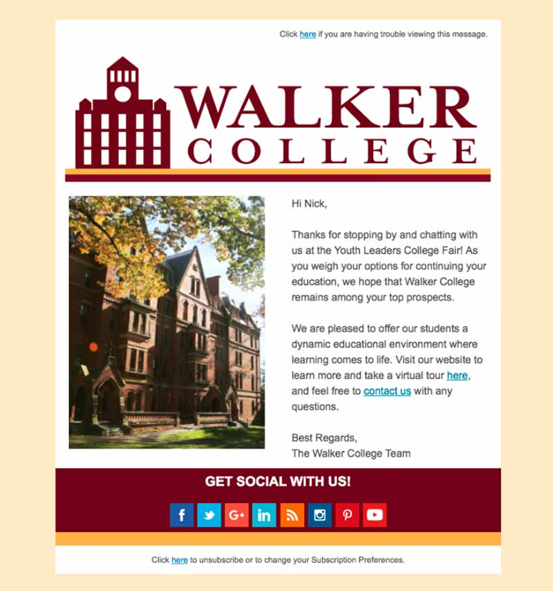 Email example by Walker College