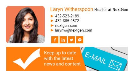 Email signature with news banner