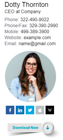 Vertical email signature example