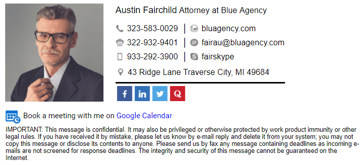 Create Email Signature with Disclaimer for Lawyer