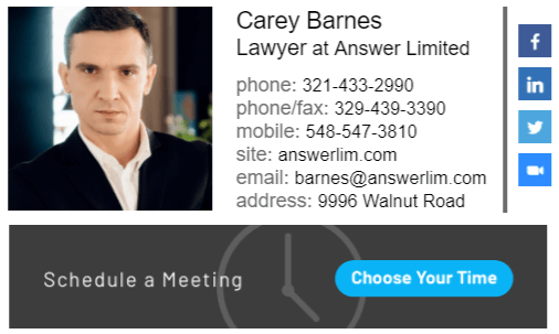 Email signature example for attorney companies