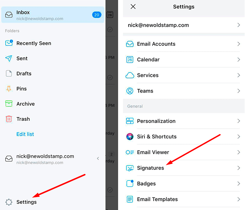 Open signature settings in your Spark email app