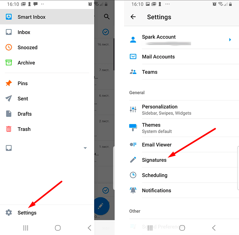 Open signature settings in your Spark email app for Android
