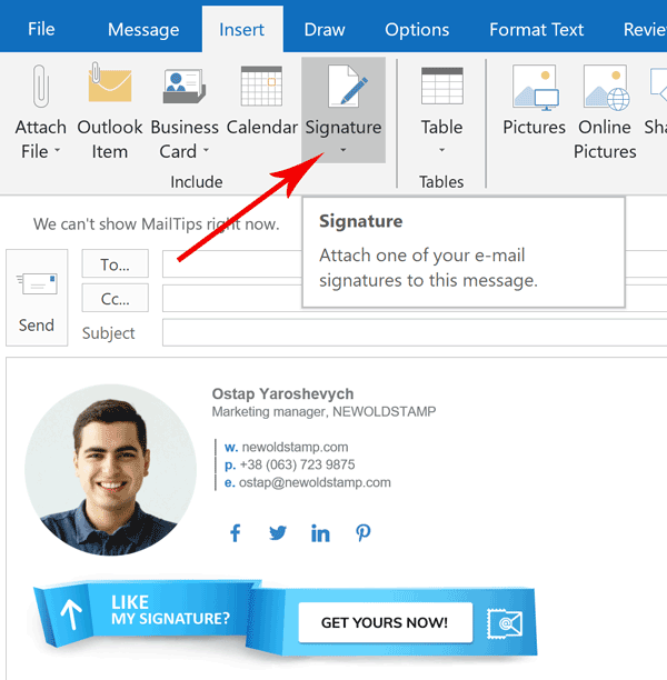 email signature insert in Outlook