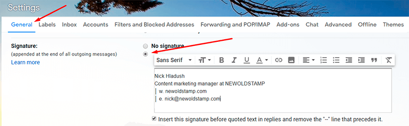 Add some contact information to your email signature