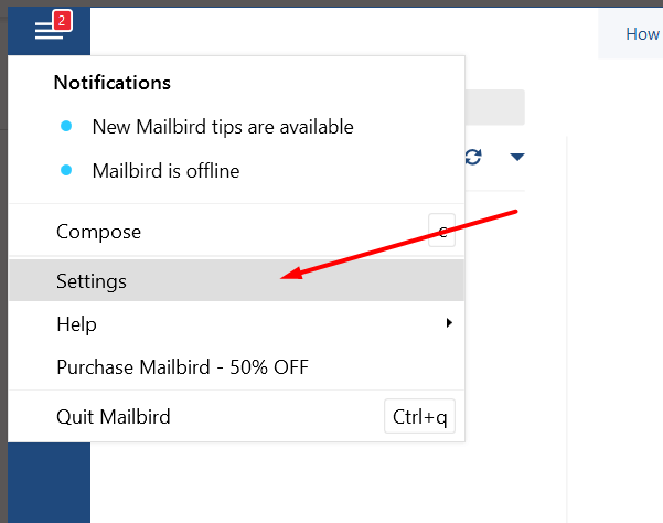 Open Settings in Mailbird app
