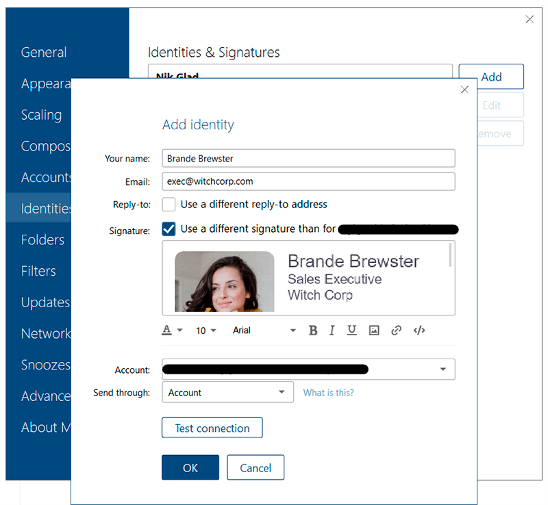 Fill in the email signature information before adding