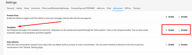 Enable Templates feature in Gmail settings