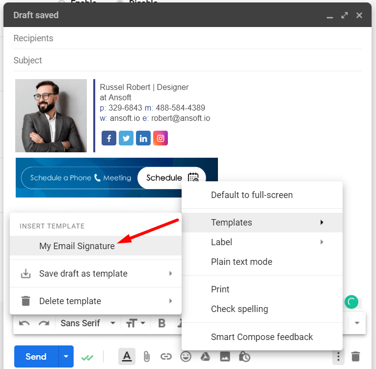 Use email signature as a Template in Gmail