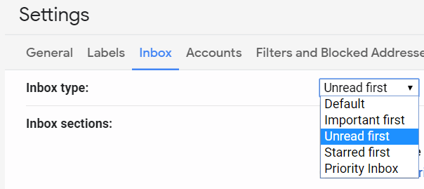 Enable unread emails first in Gmail