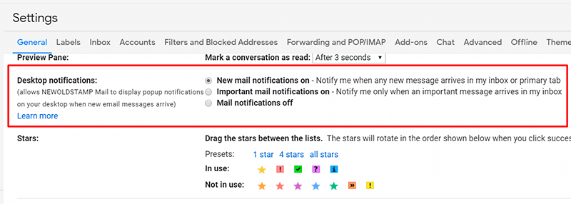 Turn on Gmail notifications