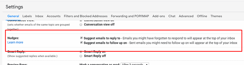 Nudges setting in Gmail
