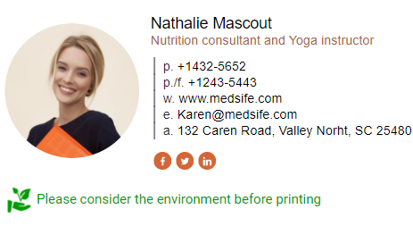 Nutrition consultant and Yoga instructor email signature