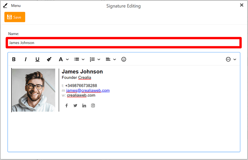 Editing a new signature or inserting an existing one
