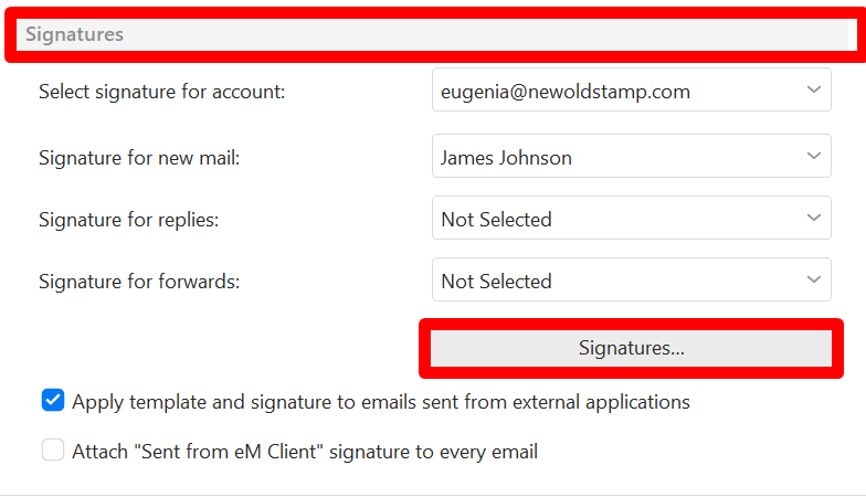Signatures button in eM Client Settings window