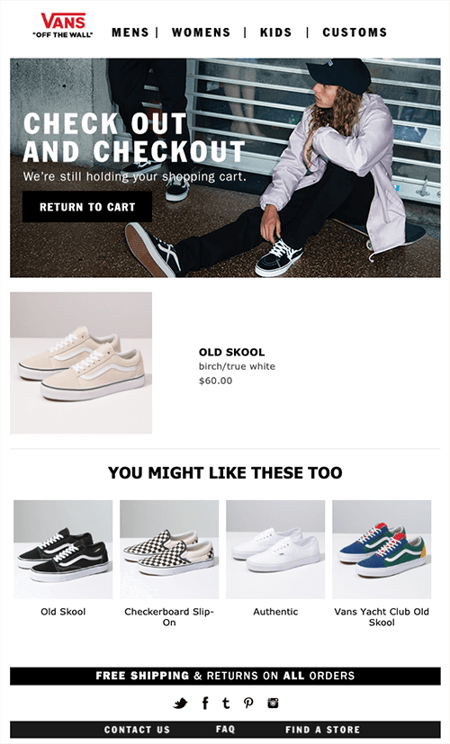 Cart abandonment email by Vans
