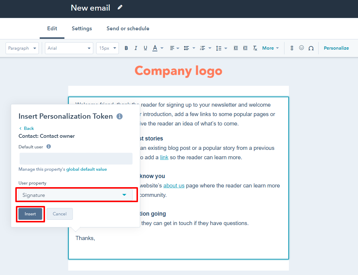 User property in HubSpot email