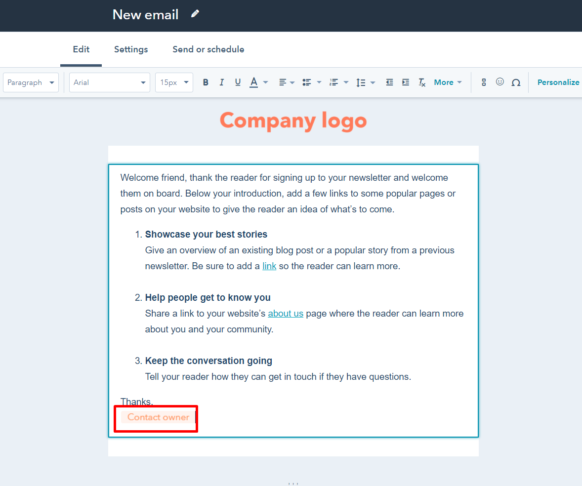 Personalization Token is installed in HubSpot email