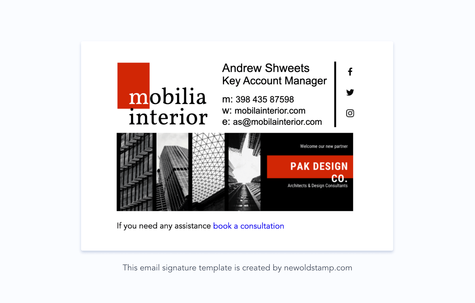 Email signature example with a logo