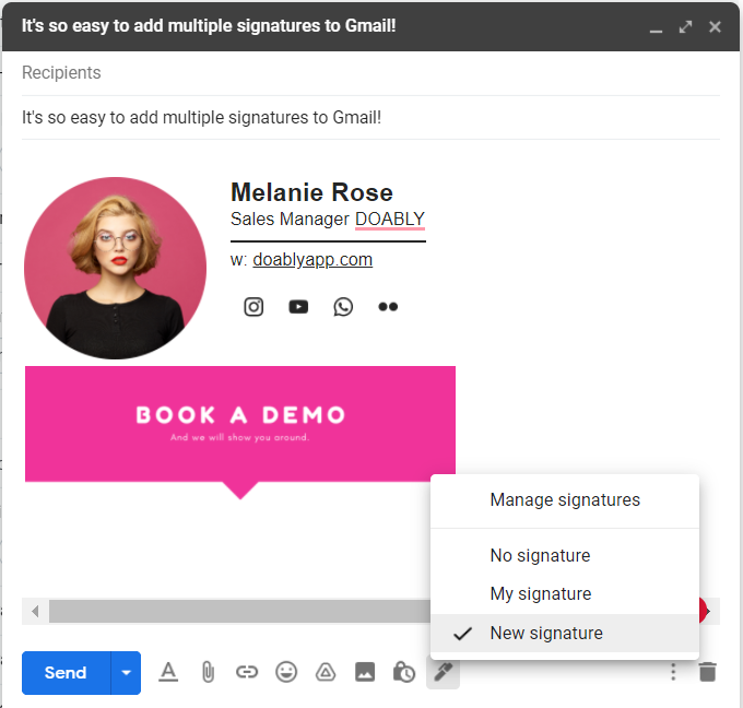 Selecting one of the multiple Gmail signatures