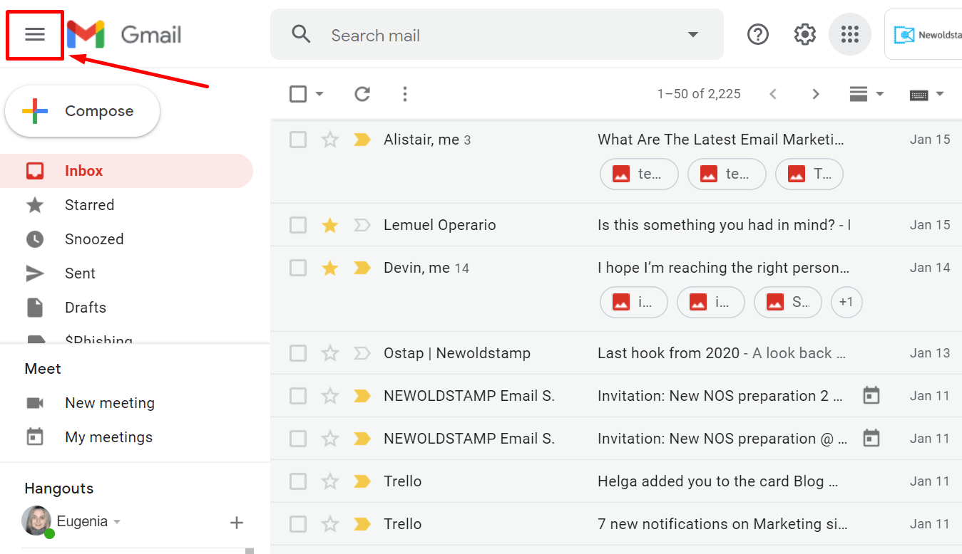 How to hide the main menu in Gmail