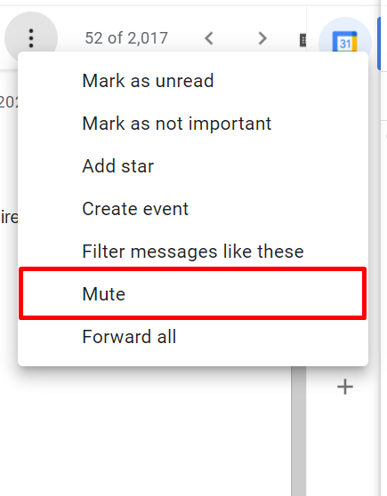Mutting a conversation thread in Gmail