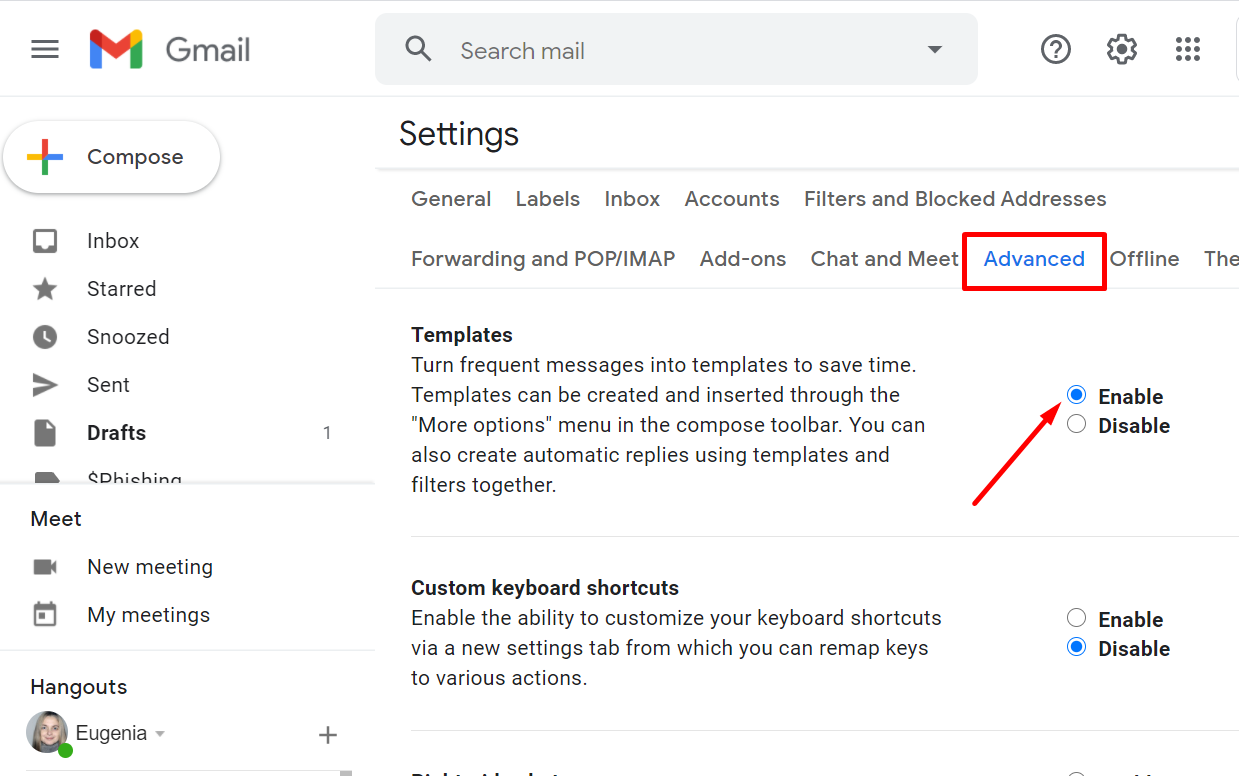 Templates in Gmail