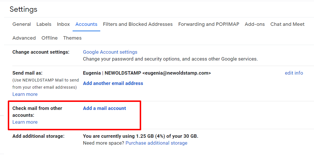 Check mail from other account in Gmail