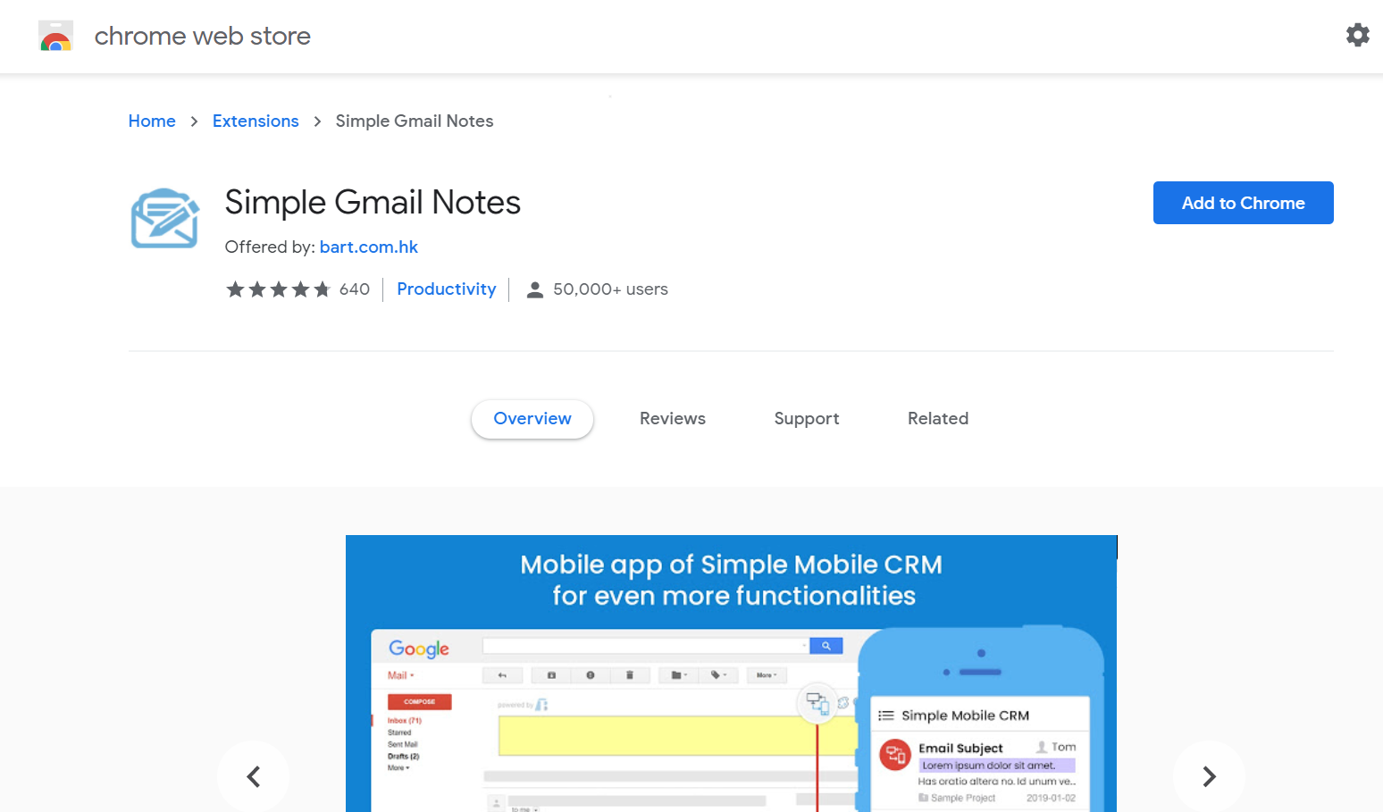 Simple Gmail notes extension