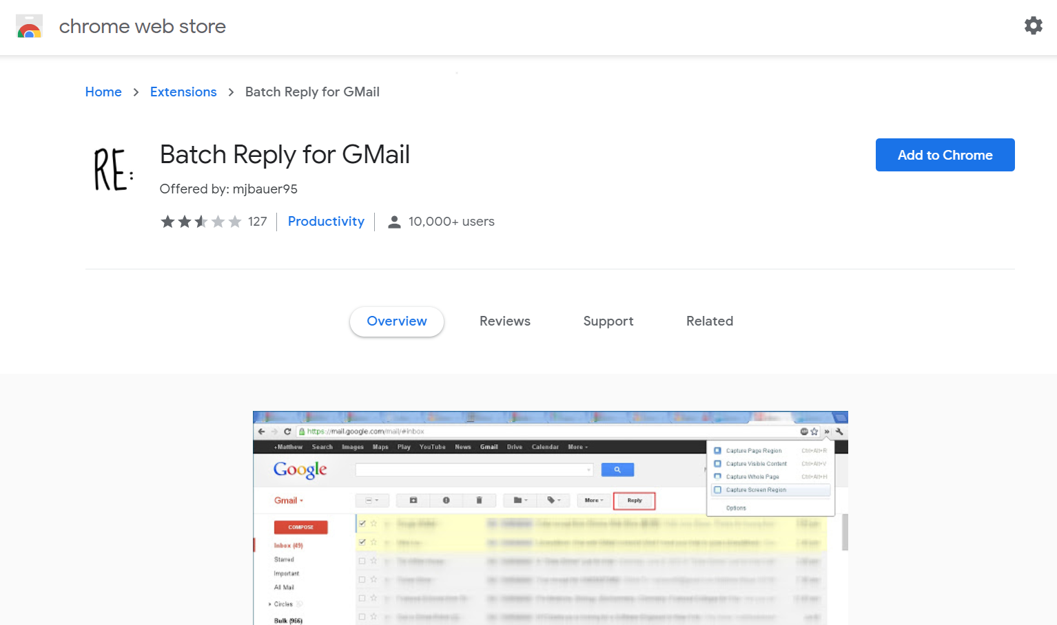 Batch reply extension for Gmail