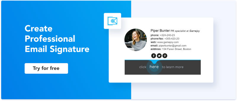 Create professional email signature with Newoldstamp