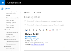 Outlook Mail editor