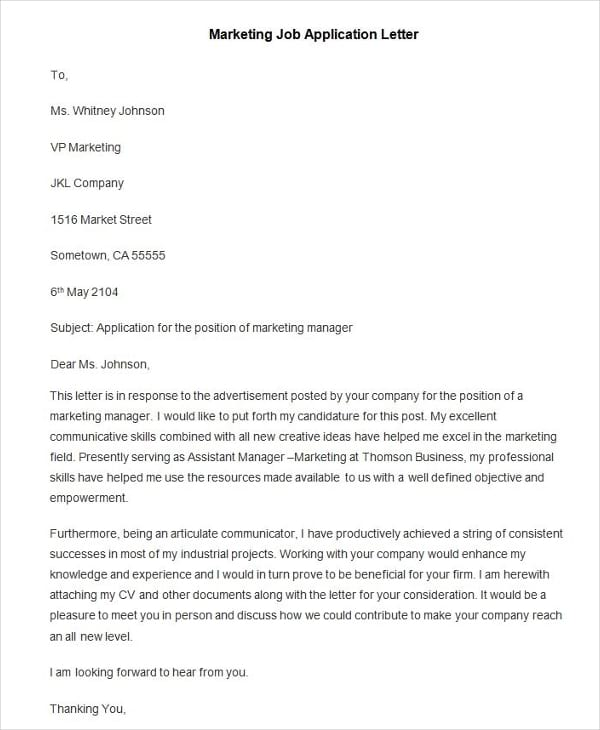 marketing job application letter