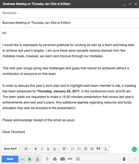 business meeting invitation email